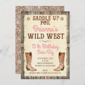 Glitter Cowgirl Wild West Birthday Invitation