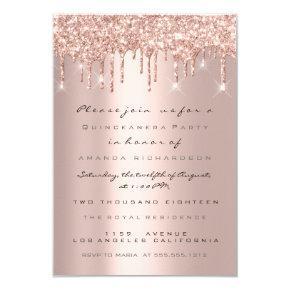 Glitter Drips Rose Bridal Sweet 16th Quinceanera Invitation
