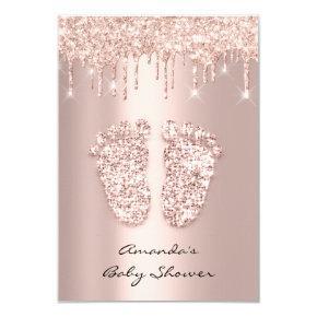 Glitter Drips Rose Gold Baby Girl Shower Feet Invitation