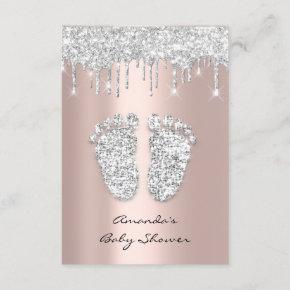 Glitter Drips Rose Gray Baby Girl Shower Feet Invitation
