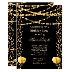 Glitter Faux Foil Gold Balloons Black Birthday Invitations