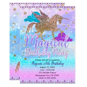 Glitter Flying Unicorn Magical Birthday Party Invitation