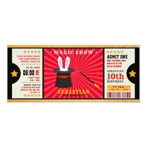 Glitter gold magic show birthday ticket invitation