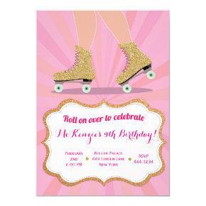 Glitter Gold Roller Skate Birthday Invitations