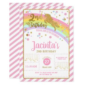 Glitter Gold Unicorn 2nd Birthday Invitation Girl