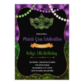 Glitter mardi gras party birthday invitation