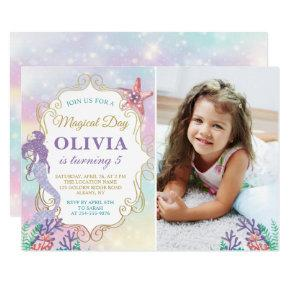 Glitter Mermaid Birthday Under The Sea Photo Invitation