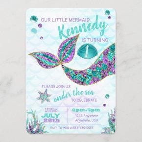 Glitter Mermaid Invitation, Under the Sea Party, Invitation