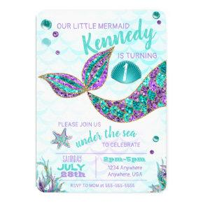 Glitter Mermaid Invitations Under The Sea Party