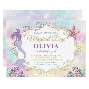Glitter Mermaid Under The Sea Birthday Invitation