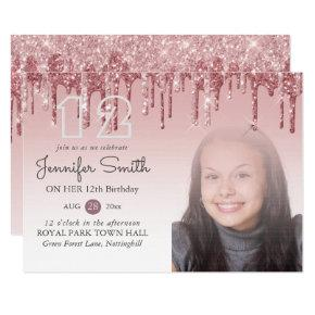 GLITTER PARTY Rose Gold PINK ANY AGE PHOTO Girls Invitation
