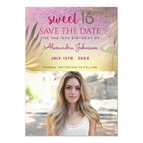 Glitter Pink and Gold Sweet 16 Save the Date Photo Magnetic Invitation