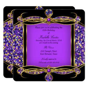 Glitter Purple Gold Black Birthday Party Invitations
