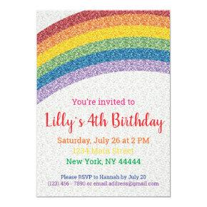 Glitter Rainbow Party Invitation, Rainbow Birthday Invitation