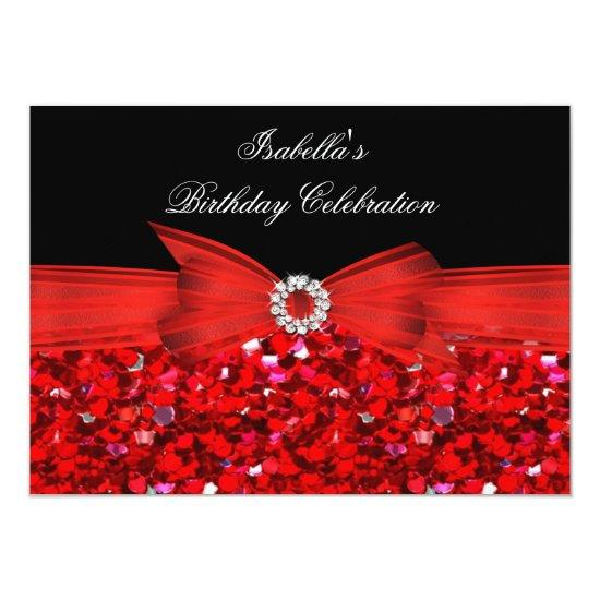 glitter red diamond bow black birthday party invitations candied