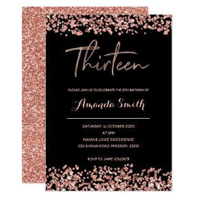 Glitter Rose gold 13th Birthday Invitation black