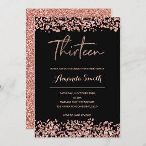 Glitter Rose gold 13th Birthday Invitation black