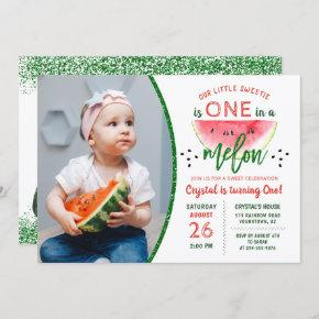 Glitter Watermelon 1st Birthday Photo Invitation