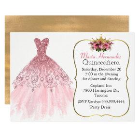 Glitzy Pink Gown Quinceañera Invitation