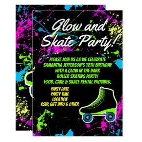 Glow and Skate Roller Skating Kids Birthday Party Invitations