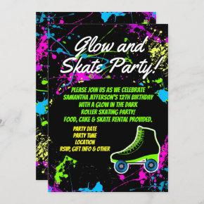 Glow and Skate Roller Skating Kids Birthday Party Invitation