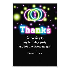 Glow Birthday Party Neon Lights Thank You Card
