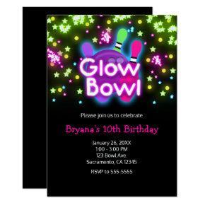 Glow Bowl Bowling Neon Stars Birthday Party Invitation