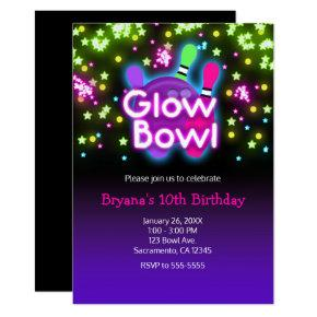 Glow Bowl Bowling Neon Stars Birthday Party Invitation