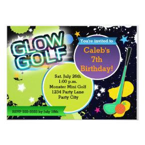 Glow Golf Monster Mini Golfing Party Invitations
