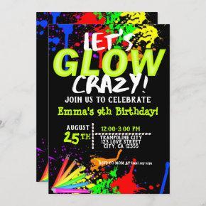 Glow in the dark Cosmic Jump & Neon party Invitation