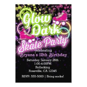 GLOW in the dark SKATE PARTY Birthday Invitation