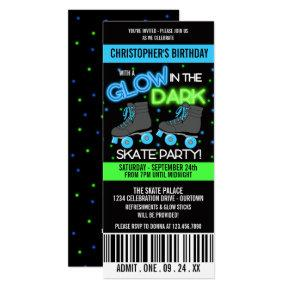 Glow in the Dark Skating Party Invitations