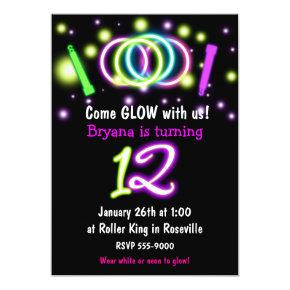 GLOW Lights 12th Birthday Party Age 12 Invitation