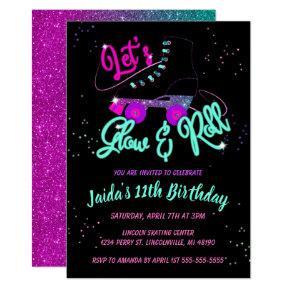 Glow Roller Skate Birthday Invitation