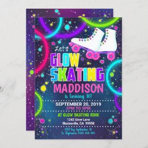Glow Roller Skate Invitation Roller Skating Party