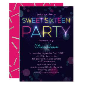 Glowing Neon Sweet Sixteen Party Invitations