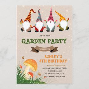 Gnome birthday party invitation