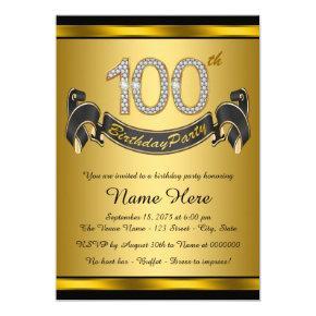 Gold 100th Birthday Party Invitation