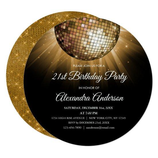 Gold 21st Birthday Party Gold Disco Ball