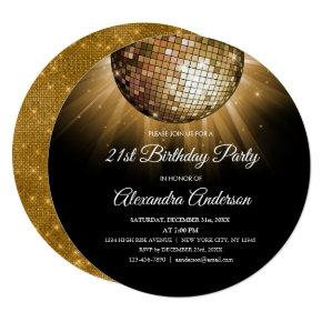 Gold 21st Birthday Party Gold Disco Ball Invitations
