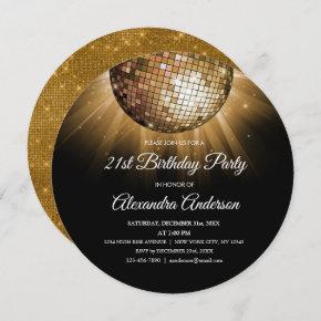 Gold 21st Birthday Party Gold Disco Ball Invitation