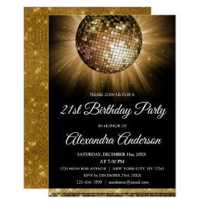 Gold 21st Birthday Party Gold Disco Ball Invitation