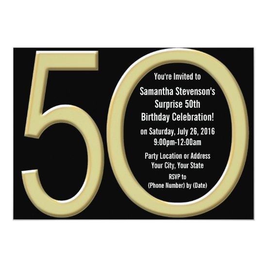 Gold 50th Birthday Party Invitation