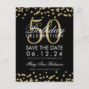 Gold 50th Birthday Save Date Confetti Black Save The Date
