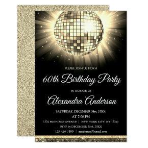Gold 60th Birthday Party 70's Disco Ball Invitation