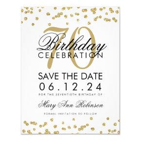 Gold 70th Birthday Save Date Confetti Invitation