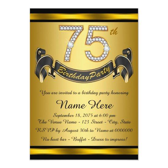 gold 75th birthday party invitations candied clouds