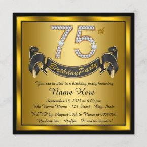 Gold 75th Birthday Party Invitation