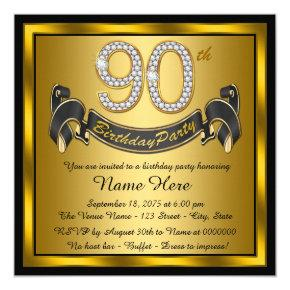 Gold 90th Birthday Party Card
