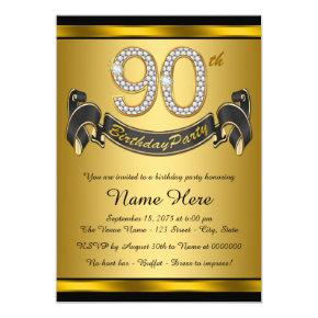 Gold 90th Birthday Party Invitations